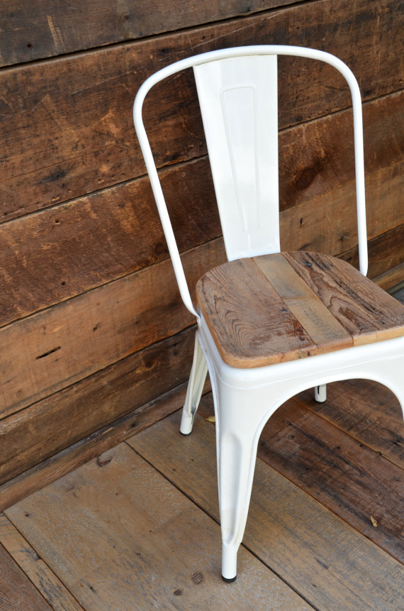 tolix chair with reclaimed wood seat